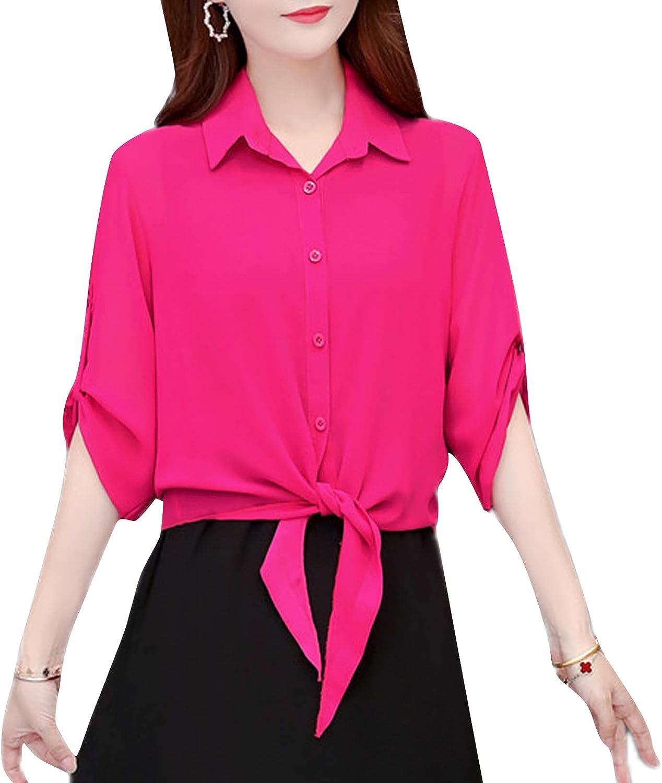 PEHMEA Women's Roll Up 3/4 Sleeve Tie Knot Chiffon Sheer Shirt Cardigan Crop Tops