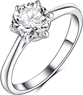 Olrla 1.0ct Round Cut D Color Moissanite Diamond Engagement Wedding Anniversary Ring for Ladies, Platinum Plated Sterling Silver, US Size 6/7/8, Gift Boxed for Mothers Day