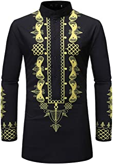 Mens Middle Eastern Style Retro Print Tops Casual Long Sleeve Slim Fit Henley Shirt Shirts Jacket