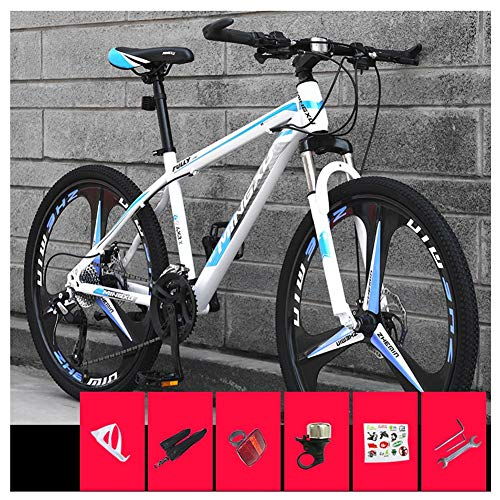 COSCANA 26 Inch Mountain Bikes, 21-27 Speed Front Suspension MTB, High-Carbon Steel Frame Mountain Bicycle With Dual Disc Brake For Men And WomenBlue-27 Speed