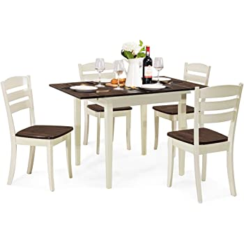 Amazon Com Giantex 5 Pcs Dining Table Set Folding And Extendable Tabletop Wood Kitchen Table Set With 4 Chairs Modern Home Furniture For Family Walnut Milky White Table Chair Sets