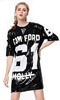 Sparkle Glitter Sequins Hip Hop Jazz Dancing T-Shirt Dress Plus Size Clubwear