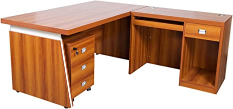 Mahmayi Dupla Modern Executive Desk, 160 x 180 x 75 cm, Rose Cherry, ME3216-ROSECH