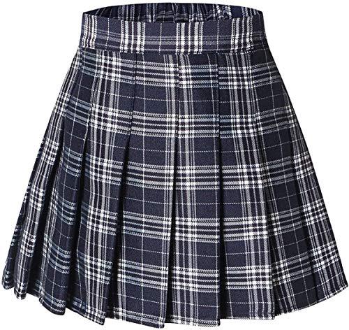 Girls Plaid Skirt, Pleated School Uniform Cosplay Costume Mini Short Skirt, Navy, US Adult M(8-10) = Tag L