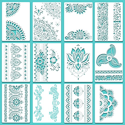 12 Pieces Large Mandala Stencil Reusable Mandala Painting Templates 8.3 x 11.7 Inch Floral Design Stencil Mandala Drawing Craft Stencil for DIY Wall, Tile, Furniture, Canva, Outdoor Indoor Decoration