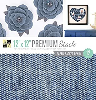DCWVE DCWV Specialty Card Stock Stack-12 x 12-Denim-Paper-Backed Denim-12 Sheet PS-010-00039
