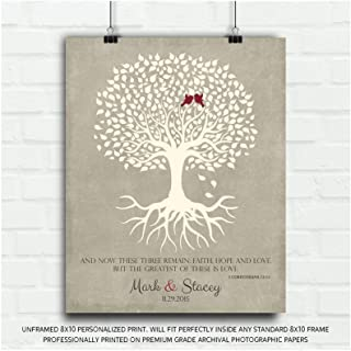 1 Corinthians 13 Personalized Thank You Gift for Parents Faith Hope Love Gift for Mother of Groom or Bride Family Wedding Poem Tree Gift for Mom and Dad - 8x10 Unframed Custom Paper Art Print