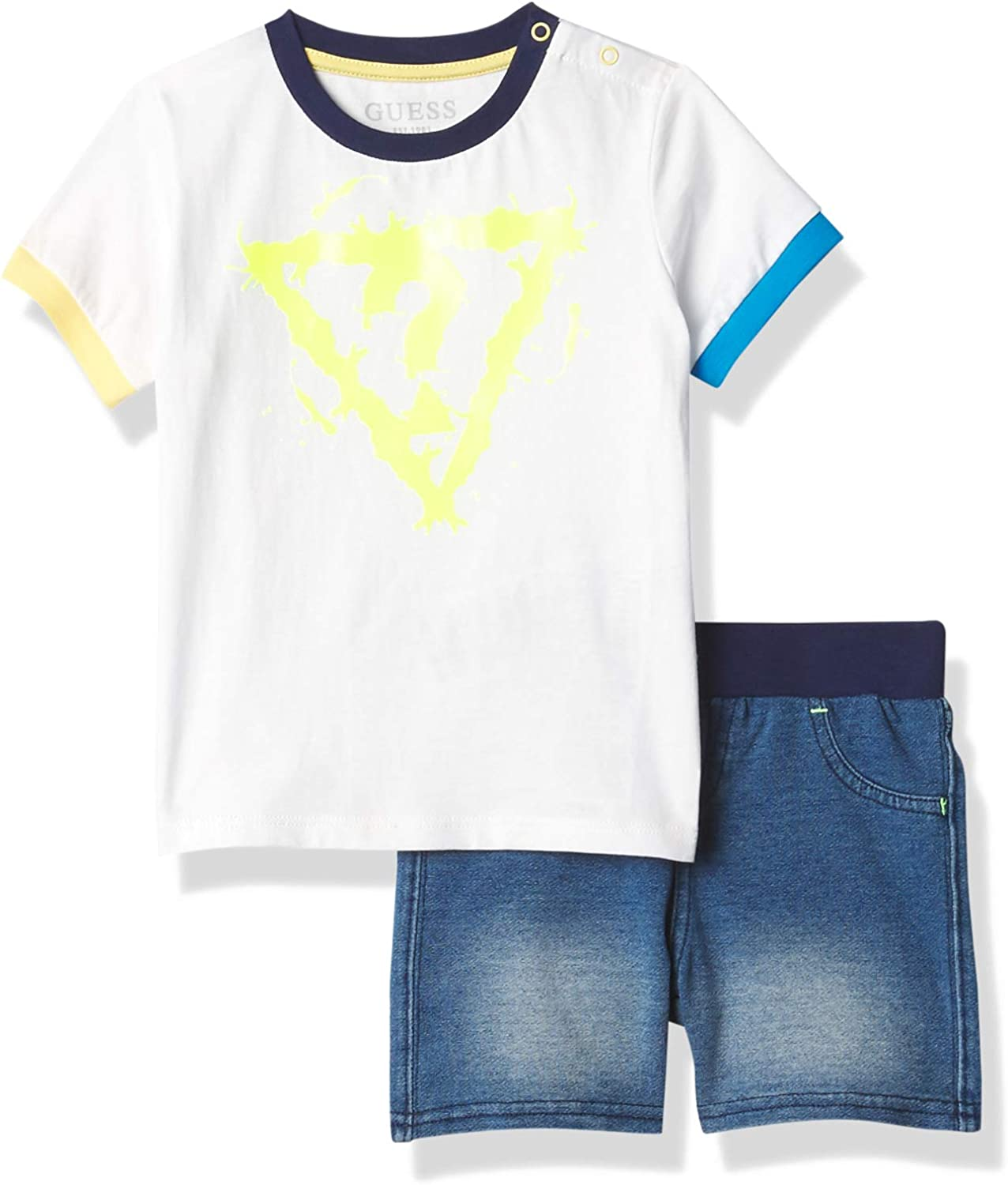 GUESS baby-boys Baltimore Mall Organic Cotton Short Logo Indefinitely Pul Sleeve and T-shirt