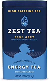 Zest Tea Premium Energy Hot Tea, High Caffeine Blend Natural & Healthy Traditional Black Coffee Substitute, Perfect for Keto, 150 mg Caffeine per Serving, Earl Grey Black Tea, Tin of 15 Sachet Bags