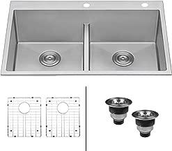 Ruvati 33-inch Drop-in Low-Divide Tight Radius 50/50 Double Bowl 16 Gauge Topmount Kitchen Sink - RVH8051