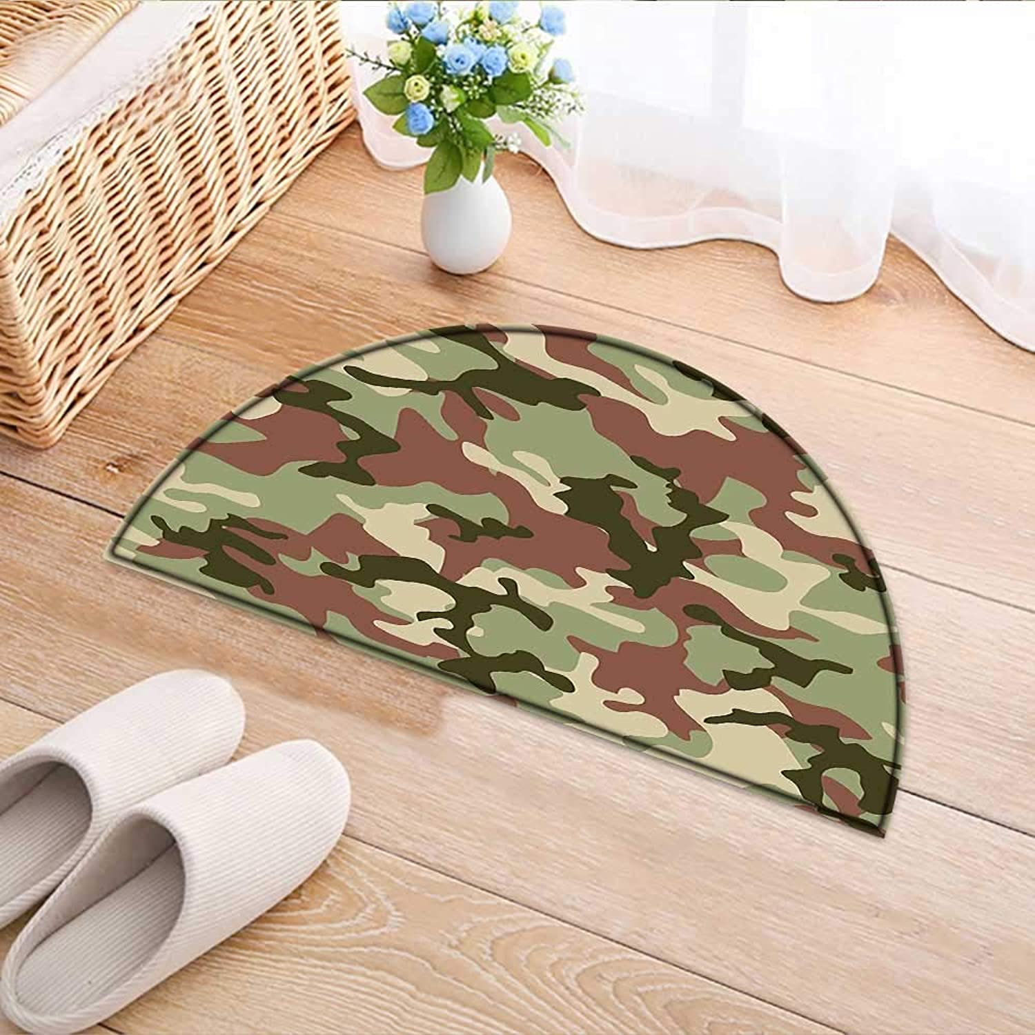 Semicircle Rug Kid Carpet Green Camouflage in Forest colors Hunter Combat Dried pink Dark Green Army Green Home Decor Foor Carpe W39 x H28 INCH