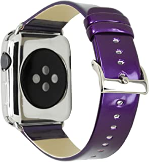 CRAZY PANDA Leather Band for Apple Watch Band 42mm 44mm, Genuine Leather Shiny Bling Glitter Strap Compatible Apple Watch Series 4 3 2 1 - Purple