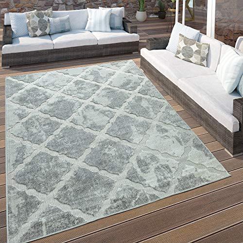Paco Home In- & Outdoor Terrassen Teppich Marmor Optik Rauten Muster In Grau, Grösse:200x290 cm