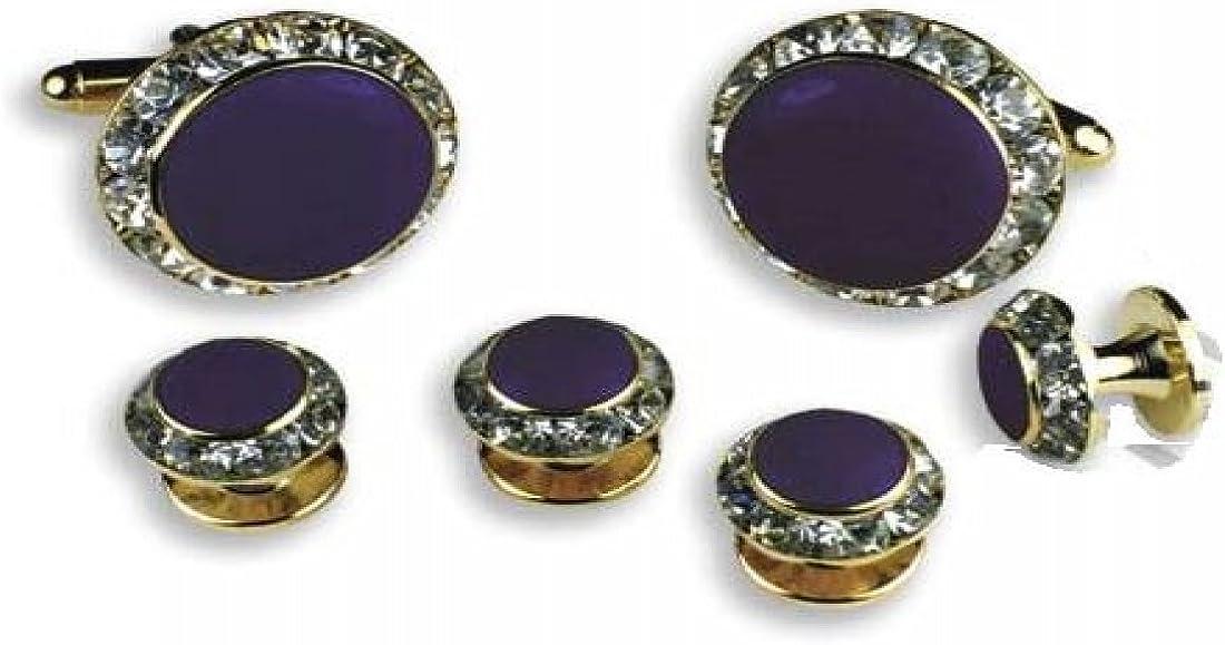 Purple Center Austrian Crystal Tuxedo Studs and Cufflinks Gold Trim