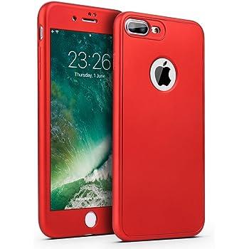 Coque Intégrale Silicone Pour iPhone 8 Plus Couleur Rouge Avec Verre Trempé Anti Choc 360° Intégrale Protection