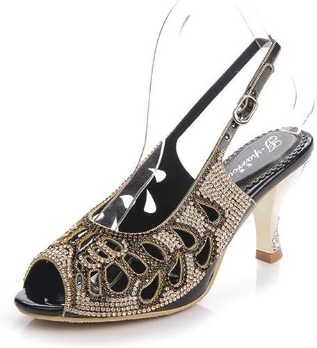 D'été Nouveaux Poissons Poissons Bouche Sandales Femme Creux Talons Hauts Diamant Fin avec Diamants Sauvages Mode Chaussures Femme  assurance qualité