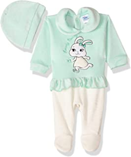 Papillon Embroidered Rabbit Front Ruffle Long Sleeves Shirt Neck Jumpsuit with Ice Cap Set for Girls