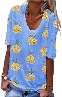 MogogoWomen Short-Sleeve Floral Printed Relaxed Pineapple V Neck T-Shirt