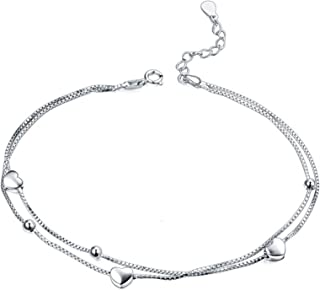 Cavigliera donna argento 925 cavigliera per le donne cavigliera dargento caviglia gioielli destate spiaggia piede per le donne ragazza gioielli dargento scatola regalo cavigliera dargento AMORE