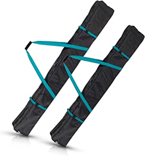 Navaris Ski Bag for Men and Women - Ski Bag for 1 Pair of Skis and Poles with Zipper, 2 Straps with Buckles and Carrying Handle - 2 Different Sizes