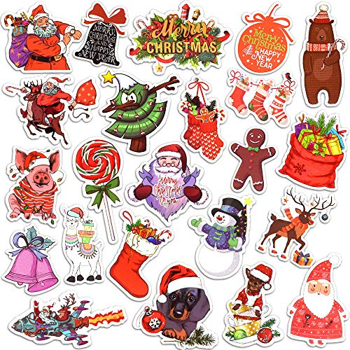 Christmas Stickers for Envelope for Kids Waterproof Vinyl Stickers Pack (50 Pcs)