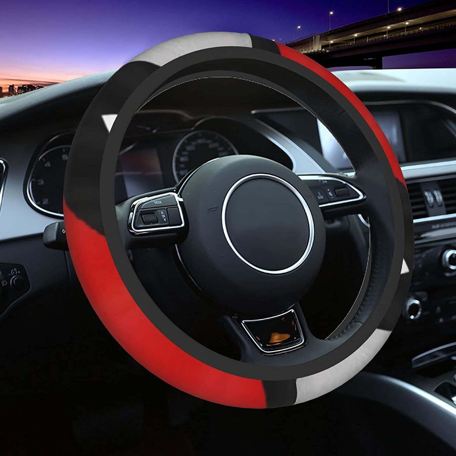 Red Gray Black Ranking TOP9 Minneapolis Mall White Geometric Car Steering Cover Wheel Wome for