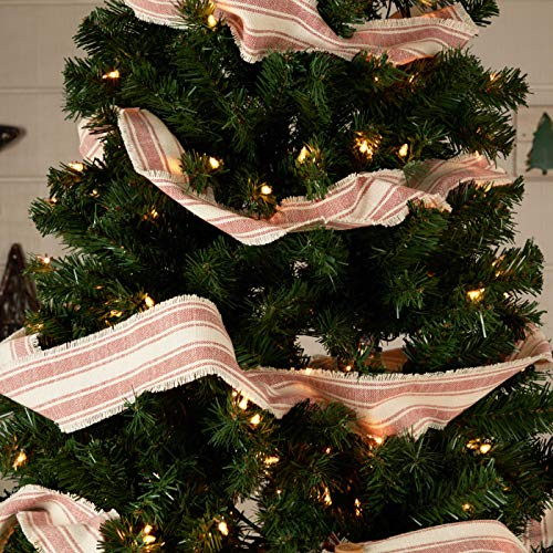Piper Classics Sleigh Bells Ring Ticking Stripe Christmas Tree Garland, 9' Long, Farmhouse Christmas Red & Cream Country Holiday Décor