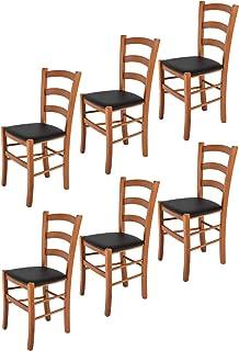 t m c s Tommychairs - Set 6 sillas Venice para Cocina y Comedor, Estructura en Madera de Haya Color Cerezo y Asiento tapizado en Polipiel Color Negro