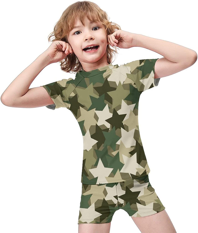 Yiaoflying Kids Boys 2 Piece Swimwear Set - Camo Stars Rashguard Swimsuit Trunks