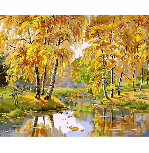 Menddy Gold Forest Stream Wasser Landschaft DIY Digitale Malerei nach Zahlen Moderne Wandkunst Leinwand Malerei einzigartiges Geschenk Home Decor 40x50cm gerahmt
