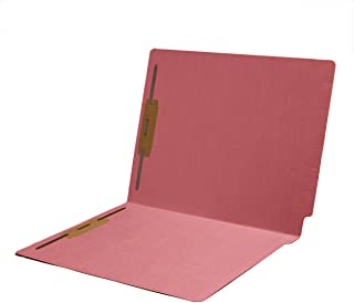 11 pt Color Folders, Full Cut 2-Ply End Tab, Letter Size, Fasteners Pos #1 & #3, Pink (Box of 50)