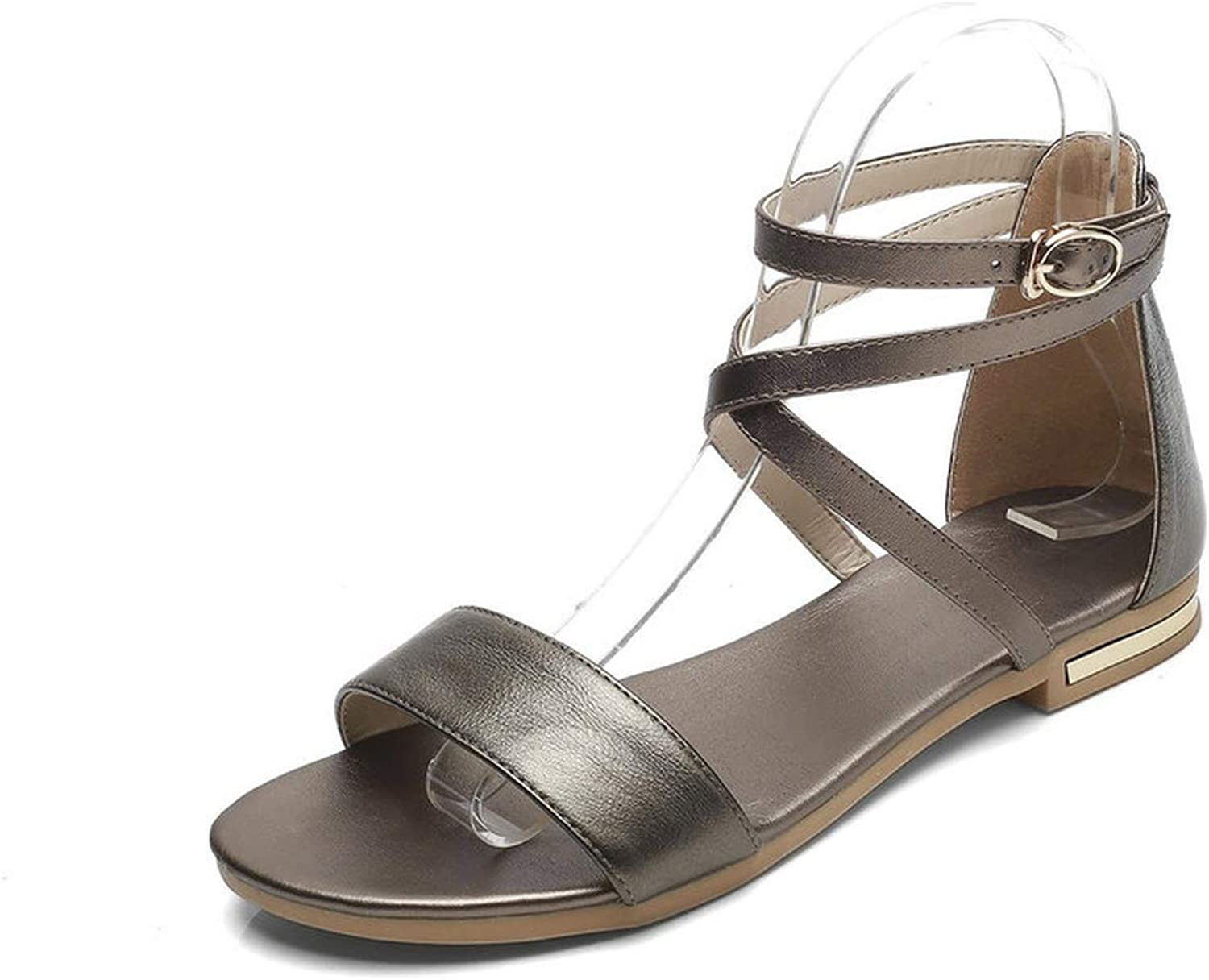 Women Sandals Ankle Strap All Match Cow Leather +pu Buckle Black Women,