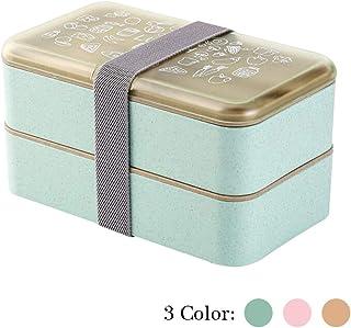 Fiambrera Bento Box 2 niveles BPA Gratis con cubiertos reutilizables Caja de Almuerzo de estilo japonés para microondas Congelador Lavaplatos Lunch Box para niños Adultos (Verde)