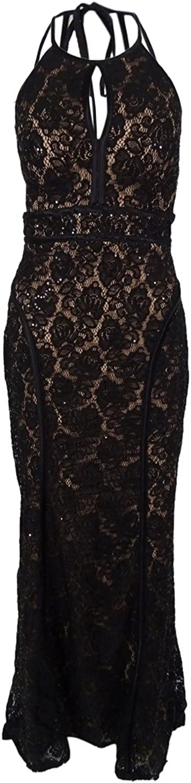 Xscape Women's Sequined Halter Lace Gown