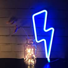 Blue Neon Night Light LED Lightning Shape Signs Wall Decorative for Living Room Bar Decor Birthday Party