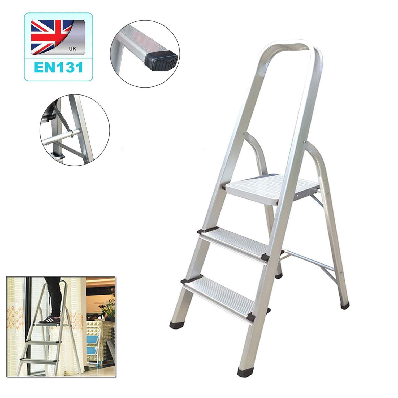 Escalera de 3 peldaños, peso ligero 2,3 kg, antideslizante, escalera plegable, escalera portátil, escalera de aluminio, máx. Carga 150 kg: Amazon.es: Bricolaje y herramientas
