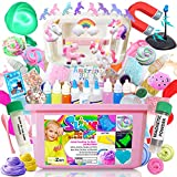 DIY Unicorn Slime Kit for Girls,Best Present Toys Gifts for 7 8 9 10 11 12 Year Old Girls Birthday, Glitter Fluffy Slime Making Kit with Glow in The Dark Powder