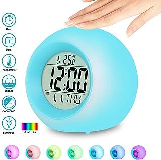 Reloj Despertador Digital, Reloj Despertador Digital para niños con 7 Colores Luz de Noche,Reloj Alarma con Control táctil Junto a la Cama con LED/Hora/Fecha/Temperatura/Función Snooze para Niños ect