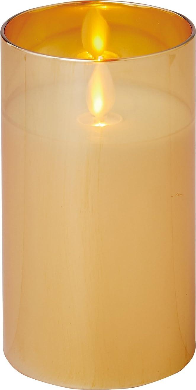 粒子ガラガラ毎年illumine イルミネシャイングラス入りLEDキャンドルM ゴールド
