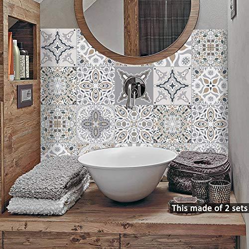 Alwayspon Plaza de Vinilo Azulejos, Auto Adhesiva Pared de la Etiqueta engomada del azulejo para la decoración casera, 10 Piezas Watercolor 20x20cm (TS060, 20x20cm)