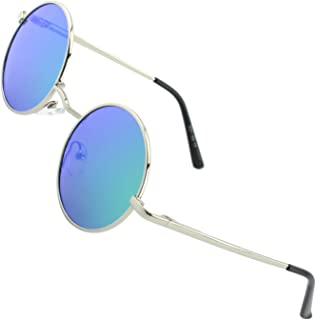 E01 Retro Vintage Style John Lennon Inspired Round Metal Circle Polarized Sunglasses with Gift Package