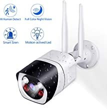 Outdoor WiFi Security Camera,Wesecuu Wireless 1080P HD Home Surveillance Cam with Floodlight Deterrent and Siren Alarm,AI Human Detection,IR Night Vision,2way Talk,IP66,Cloud/TF Card(32GB Included)