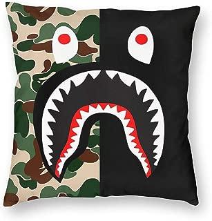 Lemonca Ba-pe Classic Shark Pillow Cases Decorative Soft Square Cushion Case for Sofa Multi-Style Multi-Size