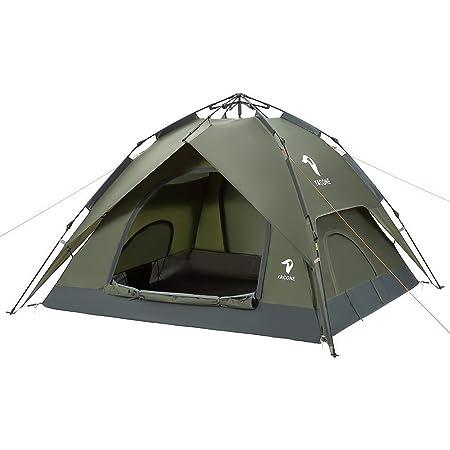 YACONE テント 数秒設営 ワンタッチテント 3人用 二重層 キャンプ ワンタッチ 2WAY ソロ テント キャンプテント uvカット加工 防風防水 折りたたみ 登山 防災用 キャンプ用品 アウトドア コンパクト