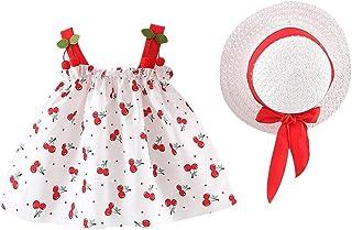 wuayi  Robes D/ét/é pour Filles Robe sans Manches Arc de Cherry pour B/éb/é Fille Habill/ée 3 Ans Chapeau Tenues de V/êtements 6 Mois