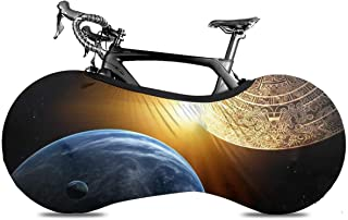 Bicycle Wheel Cover, Washable Dustproof Bike Storage Bag, Durable Scratch-Proof Protect Gear Tire Bike Cover - Prophecy with Maya Calendar and Earth Apocalyptic Aztec Fantasy Accurate Ancient