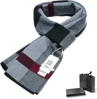 Men's Cashmere Wool Scarves Classic Plaid Business Scarfs Winter Christmas Infinity Scarfs, Soft Warm Thick Neckwear, Matc...