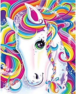 DIY 5D Diamond Painting Kits for Kids Adults Unicorn Full Drill Round Embroidery Dotz Home Wall Art Decor,Colorful Horse 12x16inches/30x40cm(Canvas Size)