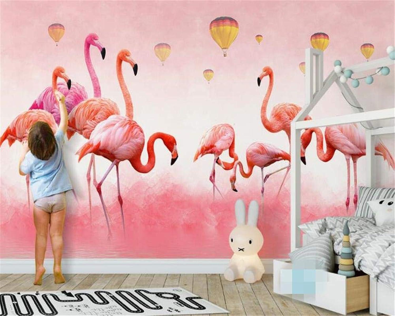 WYH-YW Fondos de Pantalla Personalizaños Murales Modernos Dibujaños a Mano Flamingo Feather Wallpaper Fondo de Pantalla de Parojo 3D 200cmx140cm(W×H)