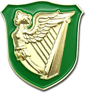 VEGASBEE Ireland HARP Winged Maiden Erin GO Bragh Irish Green Gold Premium Lapel PIN Gift Box Pouch